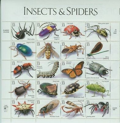 SCOTT 3351 INSECTS AND SPIDERS 33ct STAMP SHEET