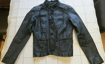 Girls Pepe Jeans Black Studded Peplum Real Leather Jacket size 12Y