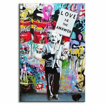 Canvas Banksy Style Graffiti Art Love Is The Answer Einstein HD Print Gift Home