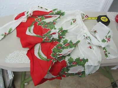 Vintage Waist Apron Red Green Christmas