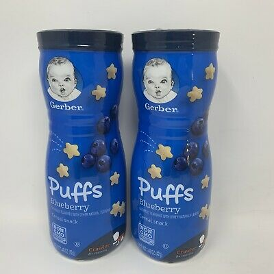 2x Gerber Puffs Vanilla & Blueberry Cereal Snack