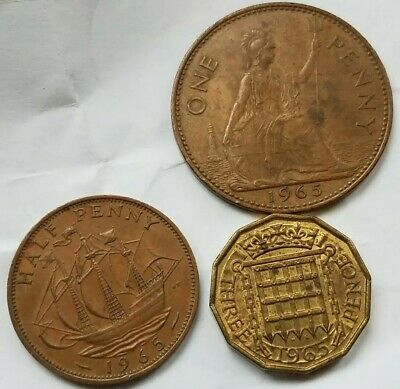 [3] Uk 1965 Circulated Half & One & Three Penny Coins  Great Britain England