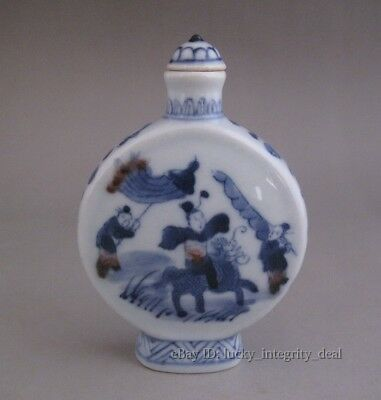 Nice Chinese Old Underglaze red Blue White Kirin & Kid Porcelain Snuff Bottle
