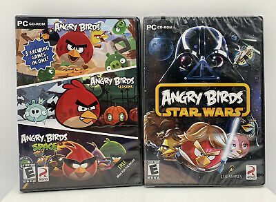 Lot of 2 Pc Video Games Angry Birds Star Wars & Angry Birds Space/seasons New