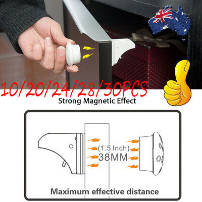 30X Magnetic No Drilling Cabinet Drawer Cupboard Locks Baby KidS Safety Lock AU