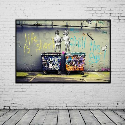 Canvas Banksy Style Graffiti Life is Short Chill Out HD Print Gift Home Wall Art