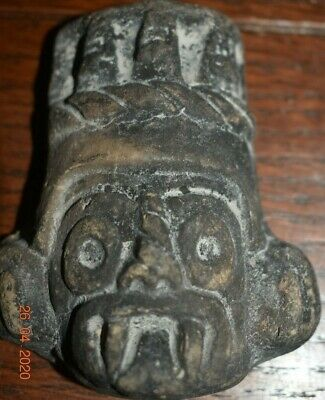 "Sale!! Pre Columbian Mayan Crypt God Head Pendant, 4"" Prov"