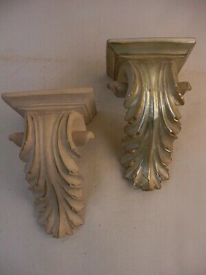 2 Acanthus Leaf Wall Bracket Shelves Silver & White/Gold French Revolution Style