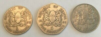 Republic Of Kenya set of 3 coins, (1) 5 shilling 1973, and (2) 1 shilling coins
