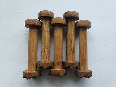 VINTAGE WOOD Textile Spool Bobbins SET OF 5