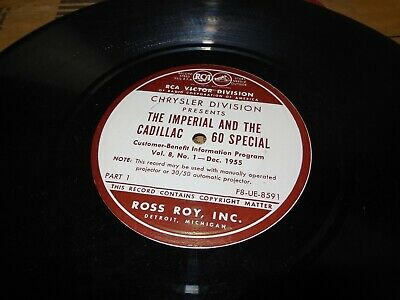 1955 Chrysler SALES TRAINING Record Vinyl Imperial & The Cadillac 60 Special