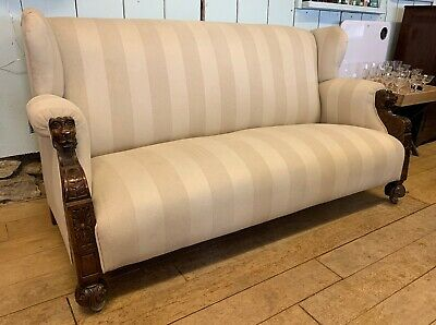 Stunning Rare Large Oak Carved Victorian Sofa Beautifully Upholstered was £895
