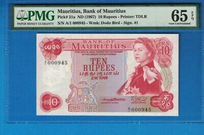 Mauritius Serial Number 000945  10 Rupees 1967 Pick 31a PMG 65 EPQ