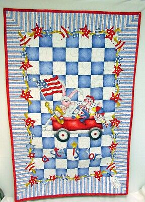 """Handmade Baby Blanket Quilt Wall Hanging A Star is Born Red White Blue 27x42"""""""