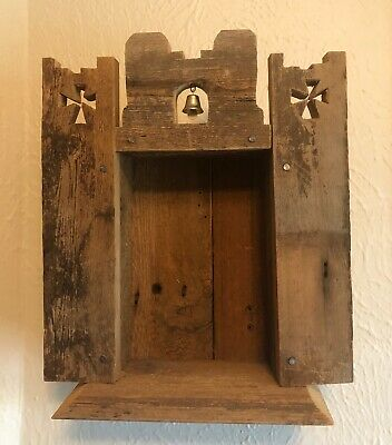 Vintage Folk Art Retablo Spanish Colonial Altar Wood Nicho For Santos Southwest