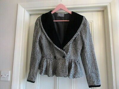 Vintage 1990's JOY'S BOUTIQUE Silk & Velvet Black / White Houndstooth Peplum