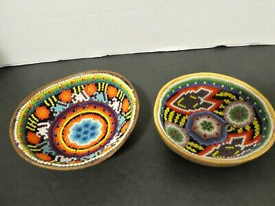 Pacific West Coast Glass Beaded Bowls X 2 Canada First Nation Vintage Folk Art