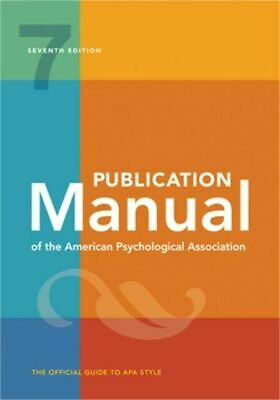 Publication Manual American Psychological Association 7TH ED. 2020 NEW PAPERBACK