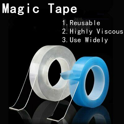 Reusable Multi-Function Nano Magic Tape Transparent Traceless Fixed Double HX20