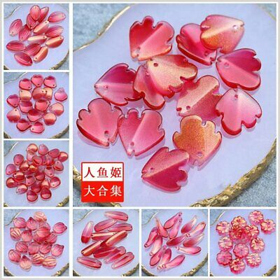 Various Shapes 30Pcs Red Czech Lampwork Glass Flower Petals Pressed Beads HH6669