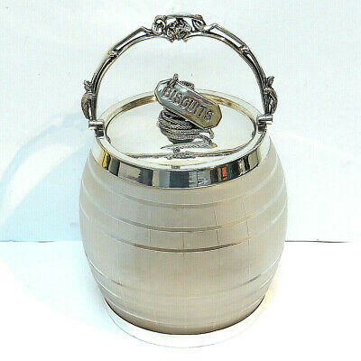 Antique C19th English VICTORIAN Silver Plate Glass NOVELTY Biscuit Barrel c1890