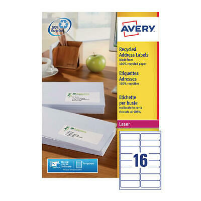 Avery Recycled Laser Label White Address 99.1x33.9mm 16 per Sheet (Pack of 100)