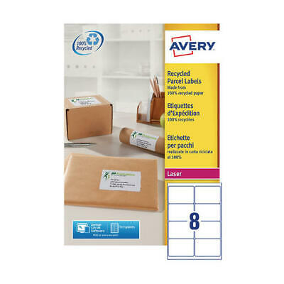 Avery Recycled Laser Label White Address 99.1x67.7mm 8 per Sheet (Pack of 100) L