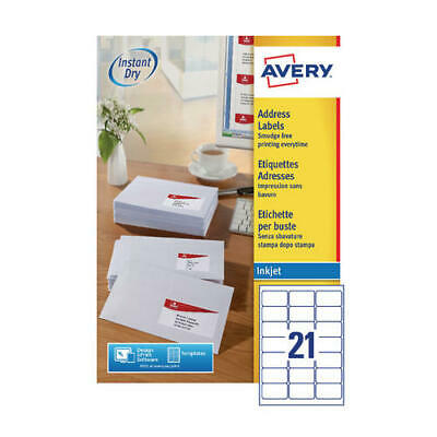 Avery Quickdry 63.5x38.1mm Inkjet Label 21 per Sheet (Pack of 100) J8160-100