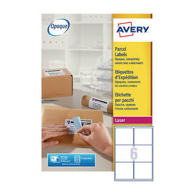 Avery Jam-Free Laser Label Parcel 99.1x93.1mm 6 per Sheet White L7166-250 (Pack