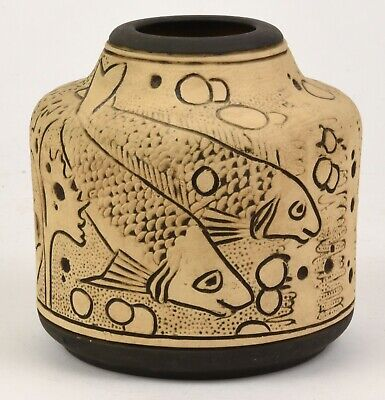 Weller Pottery Burntwood Claywood Vase With Fish Decoration