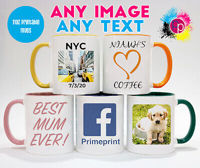 Personalised Custom Text and Photo Coloured Inside Mug Coffee Cup Printed Gifts