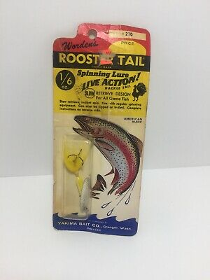 Vintage Wordens Rooster Tail 1/24 oz Spinning Lure Live Action! Yakima Bait, NIB