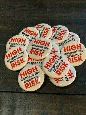 """Respect My Distance"" Button for Those Who are High-Risk (pack of 5 pins)"
