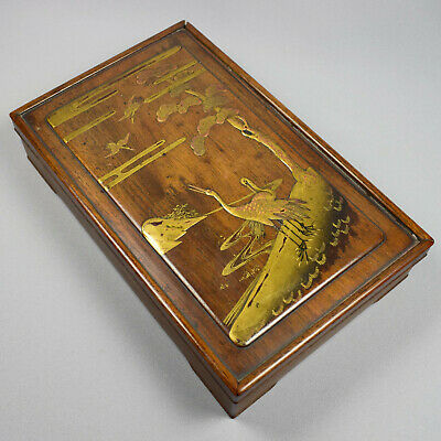 Japanese Rosewood Stationary Box And Cover With Lacquered Cranes In Landscape -