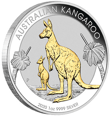 Australian Gilt Gilded 2020 Kangaroo Proof Silver 1 oz Dollar $1 Coin Australia