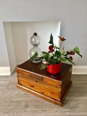 Wooden captains Military trunk/chest, pine with brass, coffee table/storage.