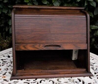 Vintage Small Oak Stationery Writing Cabinet Box,tambour desk tidy