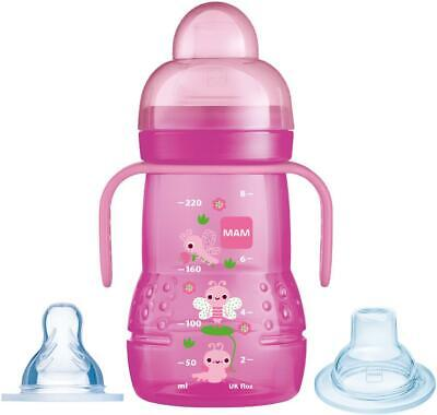 MAM TRAINER CUP 2IN1 - PINK Infant Toddler Drinking Weaning BNIP
