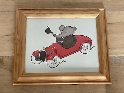 Babar The Elephant Framed Nursery Kids Wall Hanging Decoration Picture Playroom