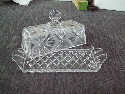 Vintage Crystal Cut Glass Butter Dish