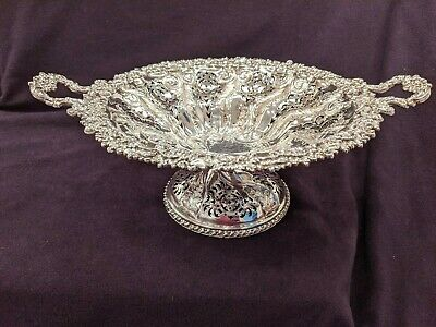 Ornate Silver Plate Pierced Footed  Centrepiece Bowl