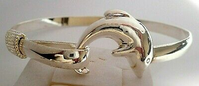 New Old Stock Sterling Silver Glossy Dolphin Opening Cuff Bracelet-Nice Size