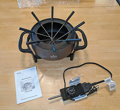 Fondue Pot ~ Rival Stainless Steel with 8 Forks ~ 3 Quart ~ Electric