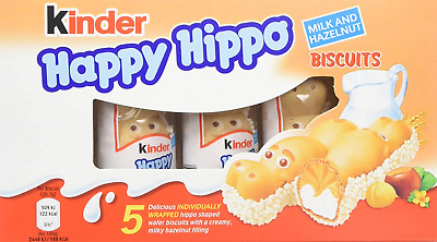Kinder Happy Hippo Hazelnut and Cream, 5 Individually Wrapped Biscuits, Pack of