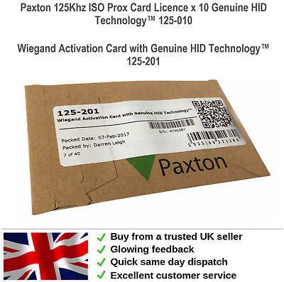 Paxton 125Khz ISO Prox Card Licence x 10 Genuine HID Technology™ 125-010 125-201
