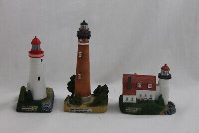 Geo Z. Lefton Lot of 3 1999 Lighthouse Statues Betsie Marblehead Little Sable