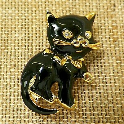 Black Cat Pin Enamel and Goldtone with Rhinestone Eyes Lucky Vintage Unmarked