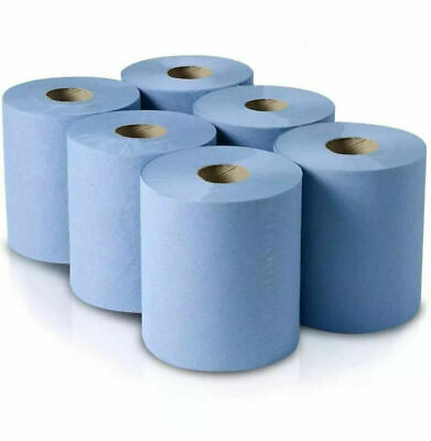 6, 12 Blue Centre Feed Rolls 2ply Kitchen Roll Wiper Paper Towel-Bigger rolls