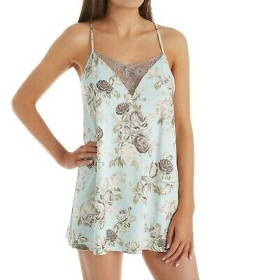 Flora Nikrooz Gigi Knit Print T80710 Chemise with Lace Small NWT