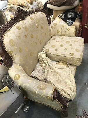 Antique French Louis XV Style Salon 2 Settee Sofa Need Of Cleaning.& Uphols